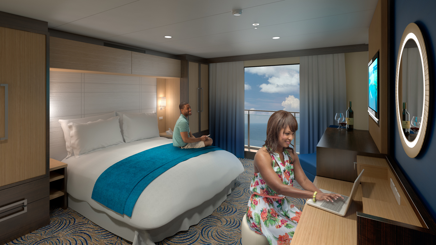 Cruise ship debuts virtual balconies for windowless for Chambre de commerce singapour