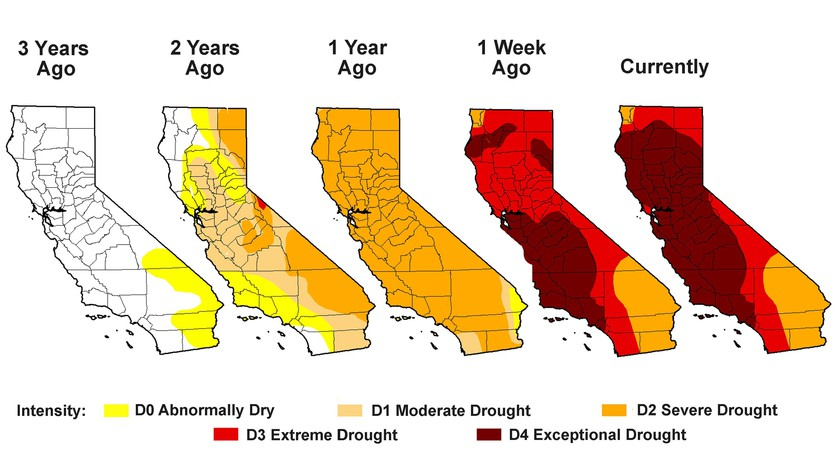California Drought 2014 Exceptional Drought Levels Now Cover More Than Half The State Soil Water Levels Nearly Depleted