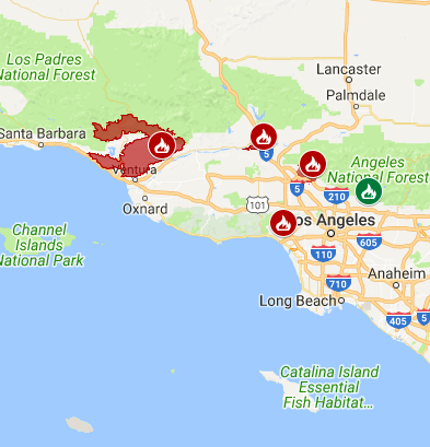 Latest California Fires Map Update Where Are Wildfires Still Burning - Us wildfire map 2017