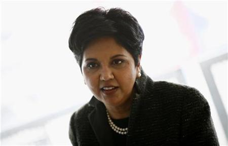 PepsiCo Chairman and Chief Executive Officer Indra Nooyi speaks to reporters during PepsiCo's 2010 Investor Meeting event in New York