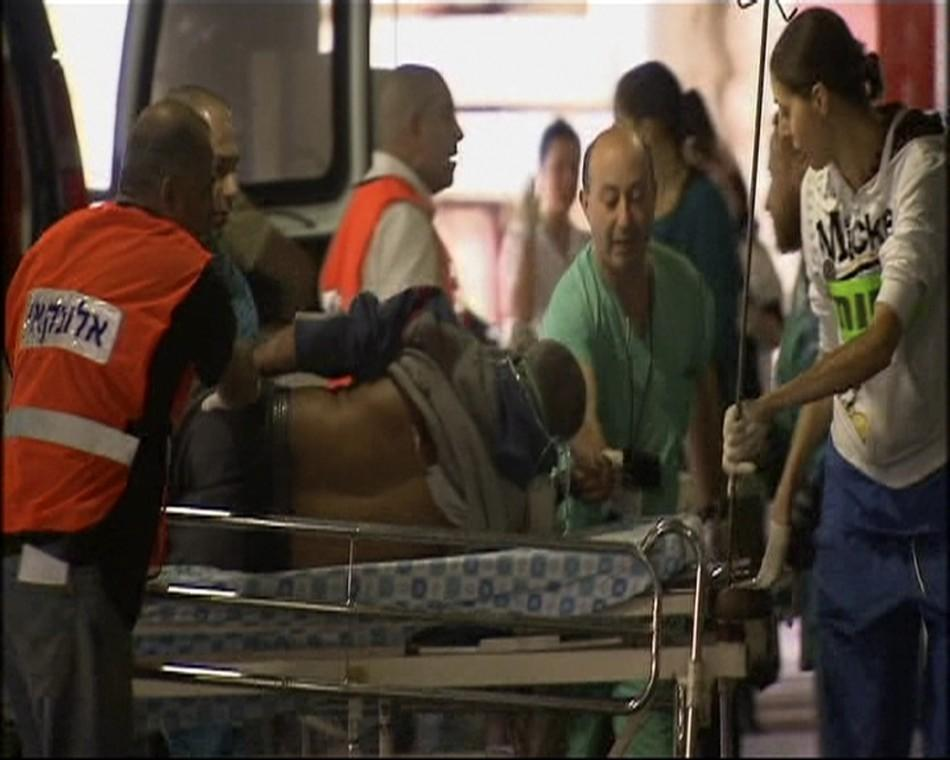 A victim of an explosion near a bus in Jerusalem arrives at hospital in this still image taken from video