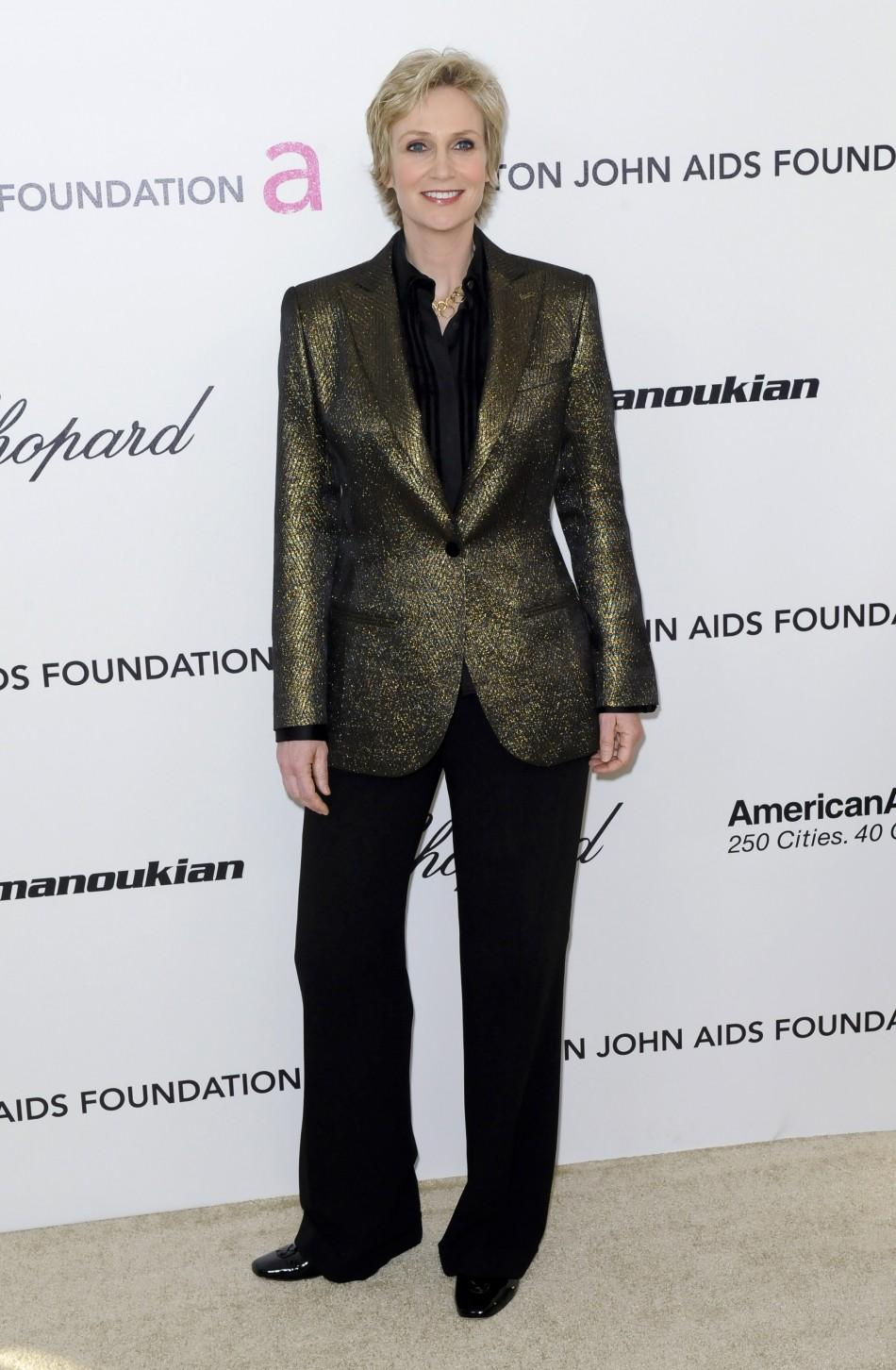 Actress Jane Lynch poses as she arrives at the 19th Annual Elton John AIDS Foundation Academy Award Viewing Party in West Hollywood, California February 27, 2011.