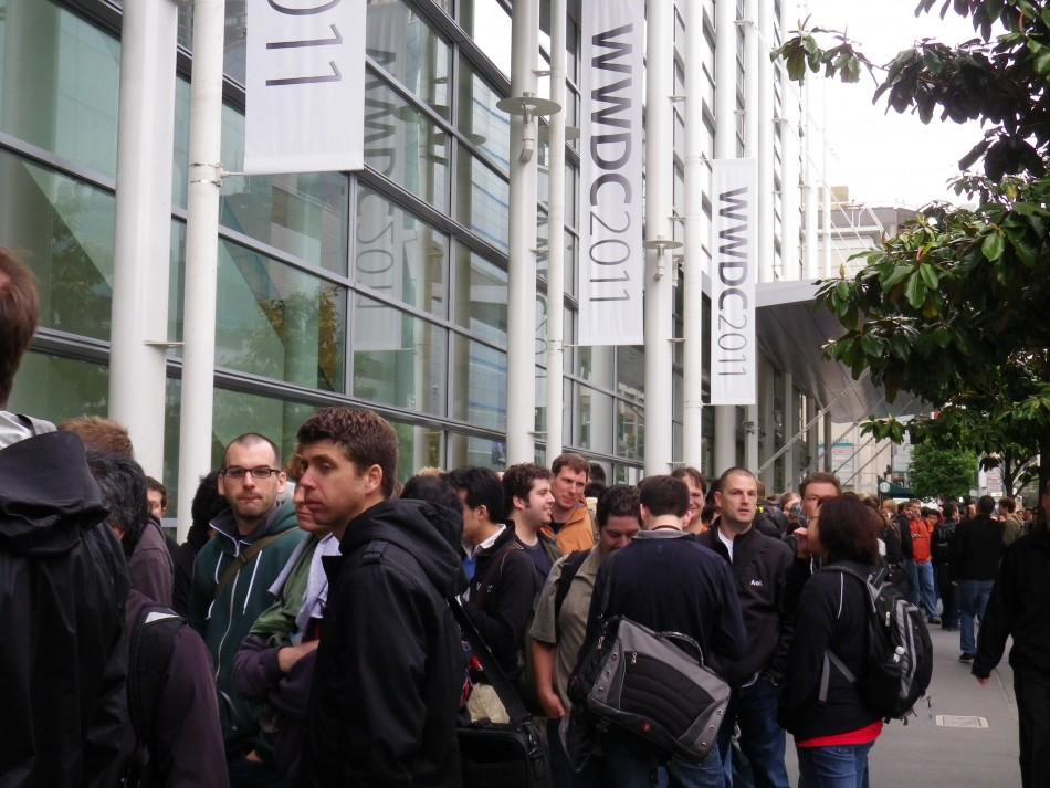 Developers waiting outside of the Moscone Convention Center in San Francisco.