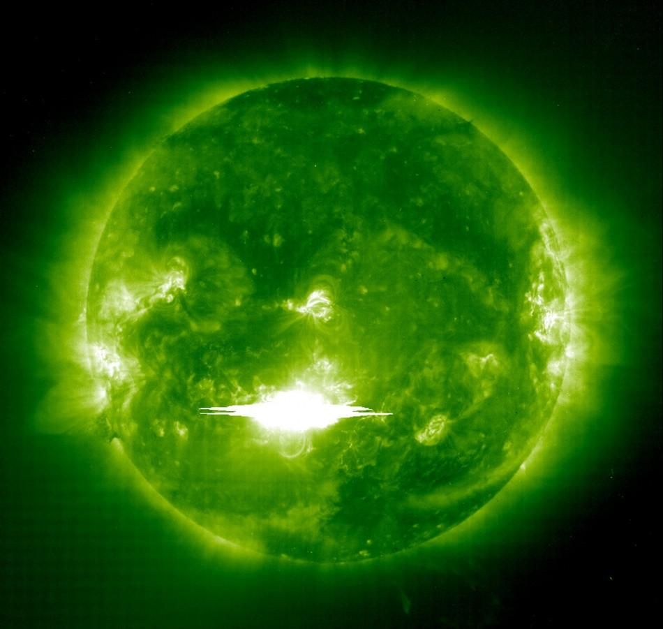 SOLAR ACTIVITY IS SEEN IN AN IMAGE FROM NASA AFTER DISCHARGE OF HUGE CLOUD OF CHARGE PARTICLES.