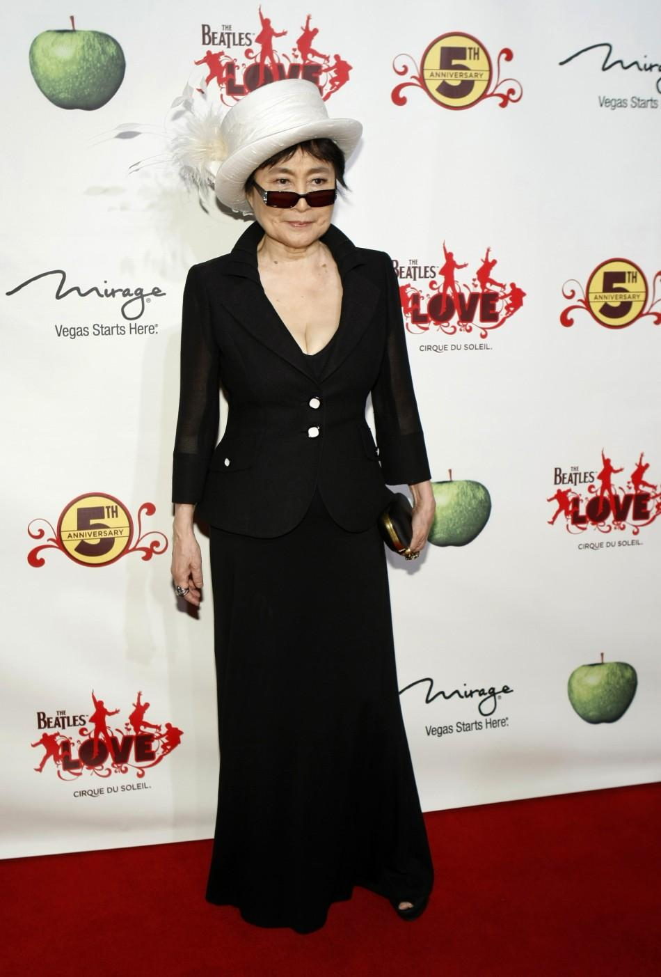 """Yoko Ono arrives for the fifth anniversary celebration of """"The Beatles LOVE by Cirque du Soleil"""" show at the Mirage Hotel and Casino in Las Vegas, Nevada June 8, 2011."""