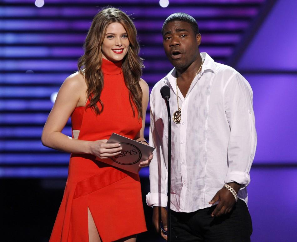 Actress Ashley Greene and comedian Tracy Morgan present an award at the 2010 ESPY Awards in Los Angeles, California July 14, 2010.