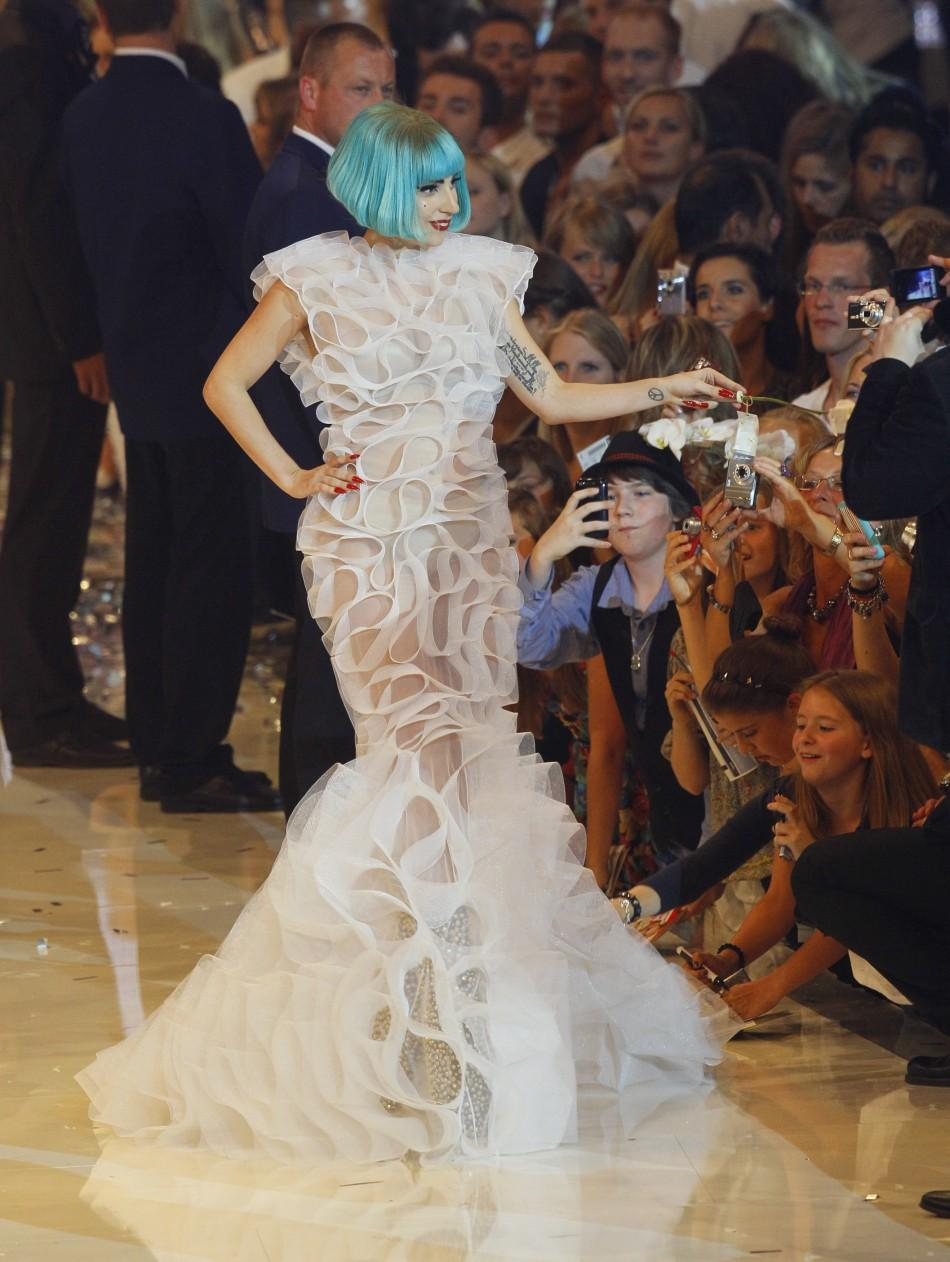 US singer Lady Gaga walks on the runway of the TV show 'Germany's next top model' in Cologne