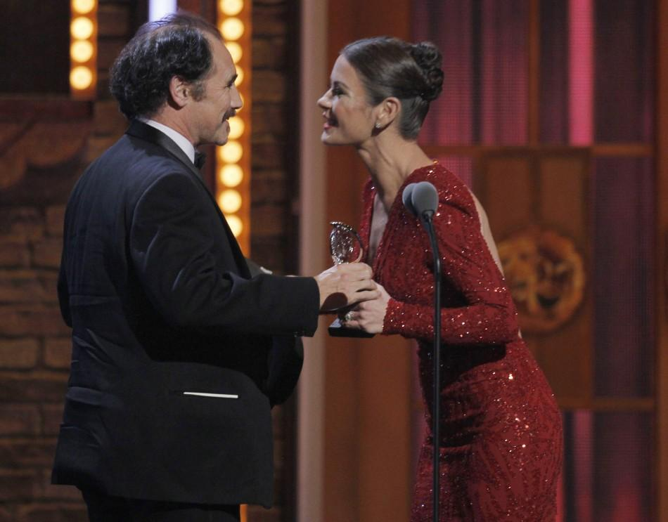 Zeta-Jones presents actor Rylance with the Tony Award for Best Performance by an Actor in a Leading Role in a Play for 'Jerusalem' in New York