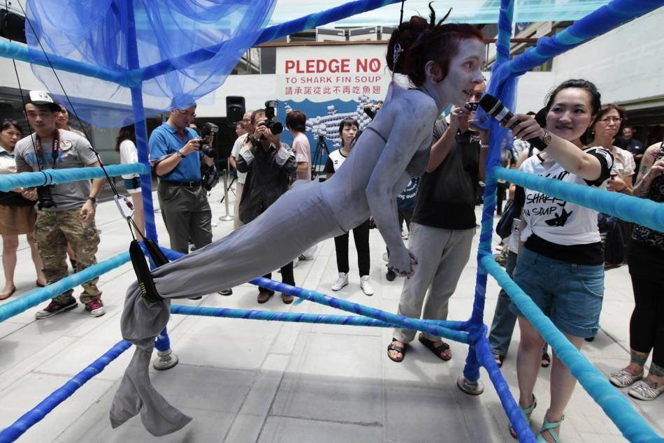 Woman protests slaughter of sharks