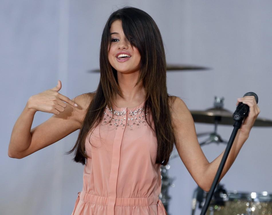 Singer and actress Selena Gomez performs in Central Park during ABC's Good Morning America in New York