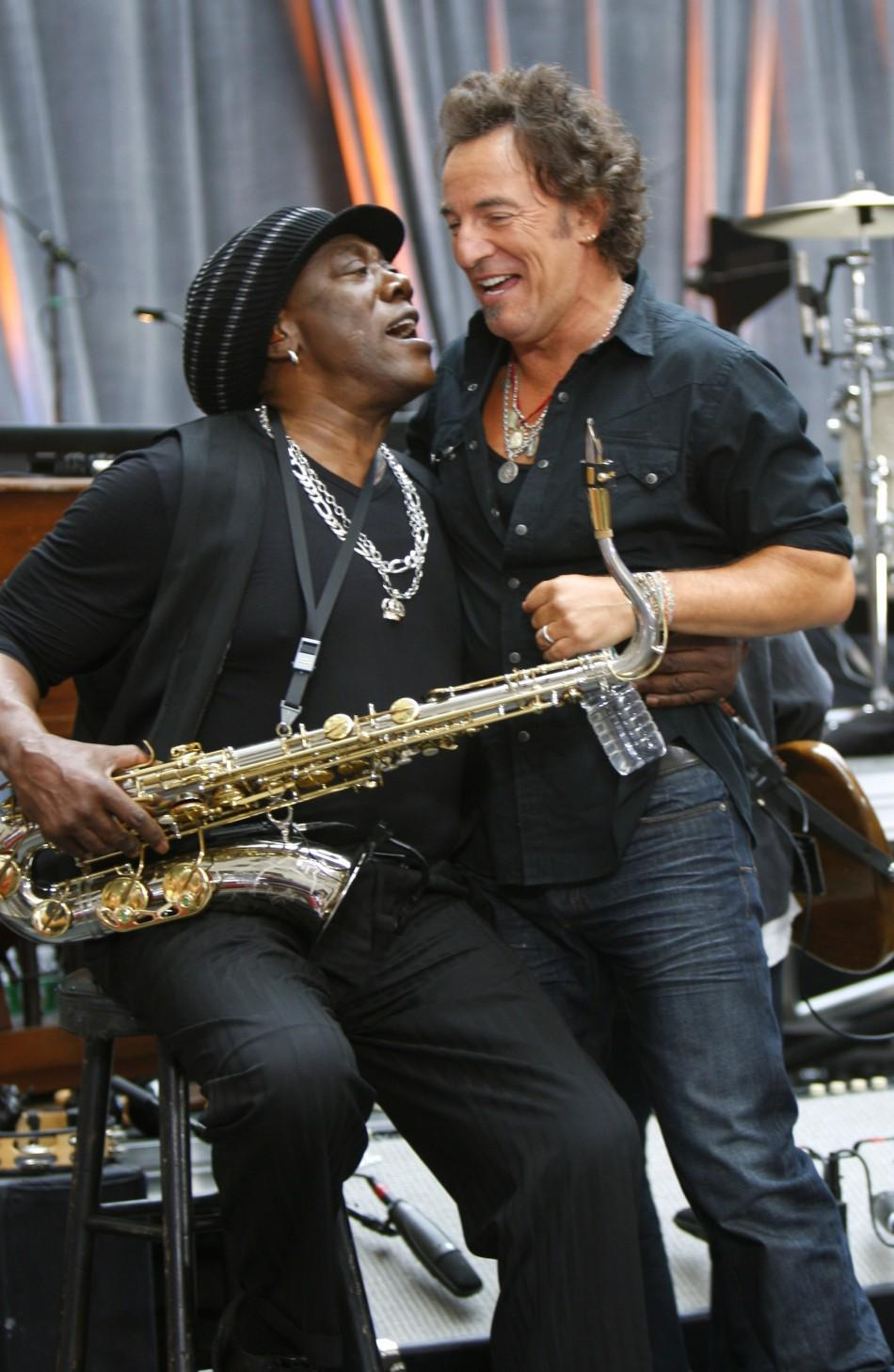 "Musicians Clarence Clemons and Bruce Springsteen appear on the ""Today"" show in New York"