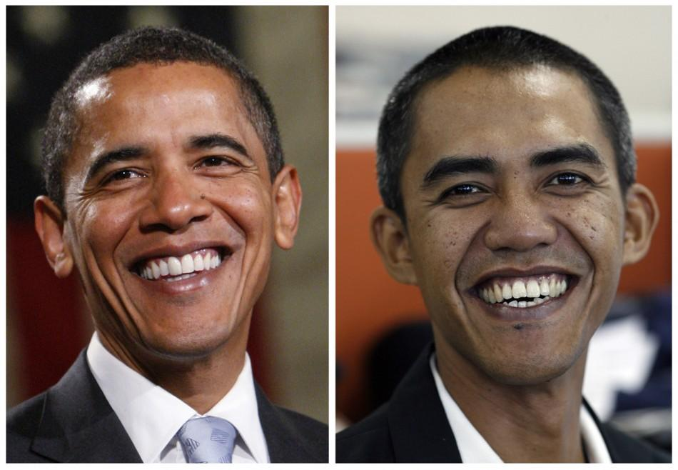 Combination photo shows US president-elect Obama and a Indonesian photographer Anas who resembles him