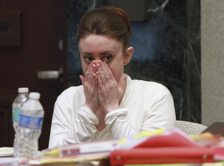 Casey Anthony sits during a break during her murder trial at the Orange County Courthouse in Orlando.