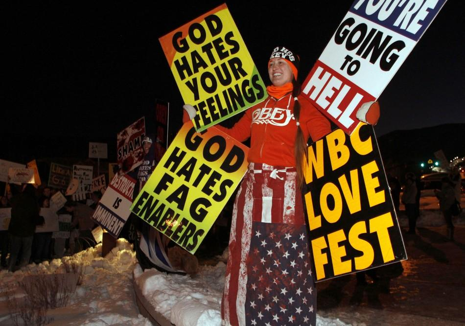 """Members of the Westboro Baptist church protest the screening of """"Red State"""" at the Sundance Film Festival in Park City, Utah"""