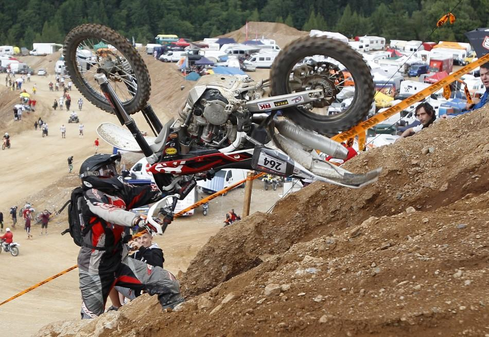 A motocross rider participates in the 'Rocket Ride' race during Erzberg Rodeo near the village of Eisenerz