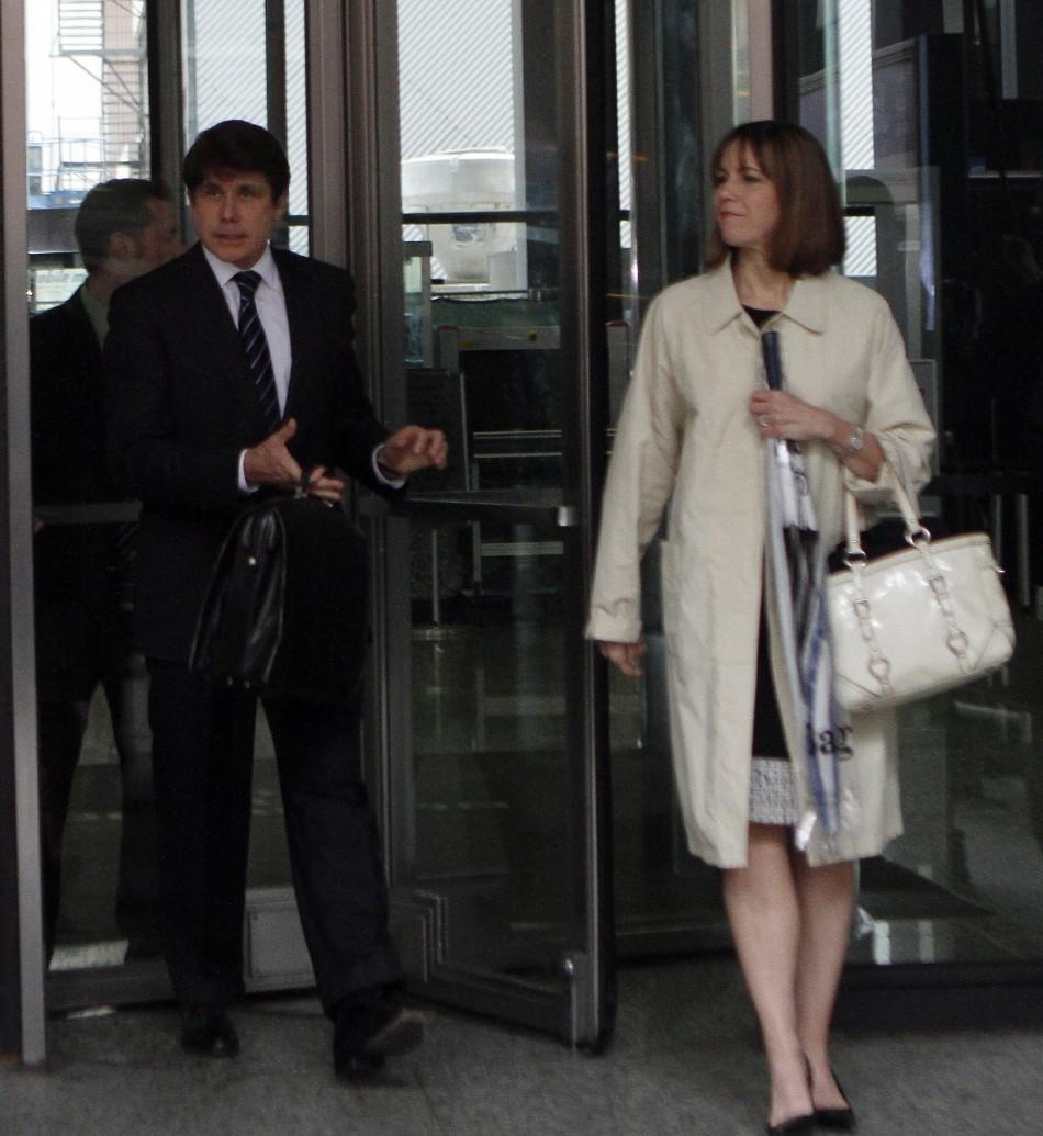 Former Illinois Governor Blagojevich and wife leave the Dirksen Federal building during his second corruption trial in Chicago