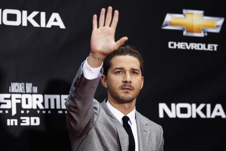 """Cast member Shia LaBeouf arrives for the premiere of """"Transformers: Dark of The Moon"""" in Times Square in New York June 28, 2011."""