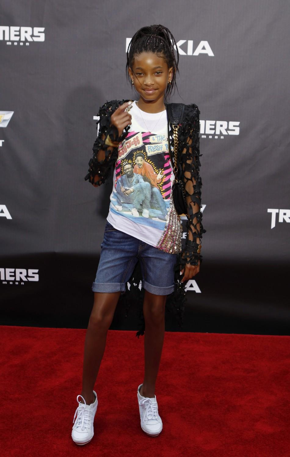 """Actress Willow Smith arrives for the premiere of """"Transformers: Dark of The Moon"""" in Times Square in New York June 28, 2011."""