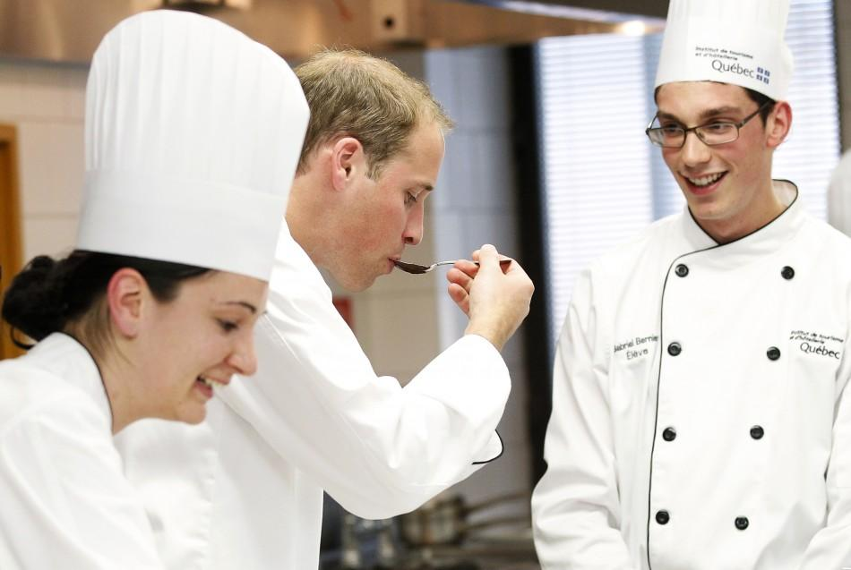 Kate Middleton and Prince William at cooking workshop