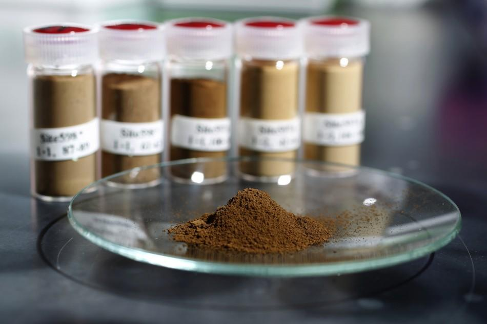 Mud samples extracted from below the Pacific ocean surface is pictured in Tokyo