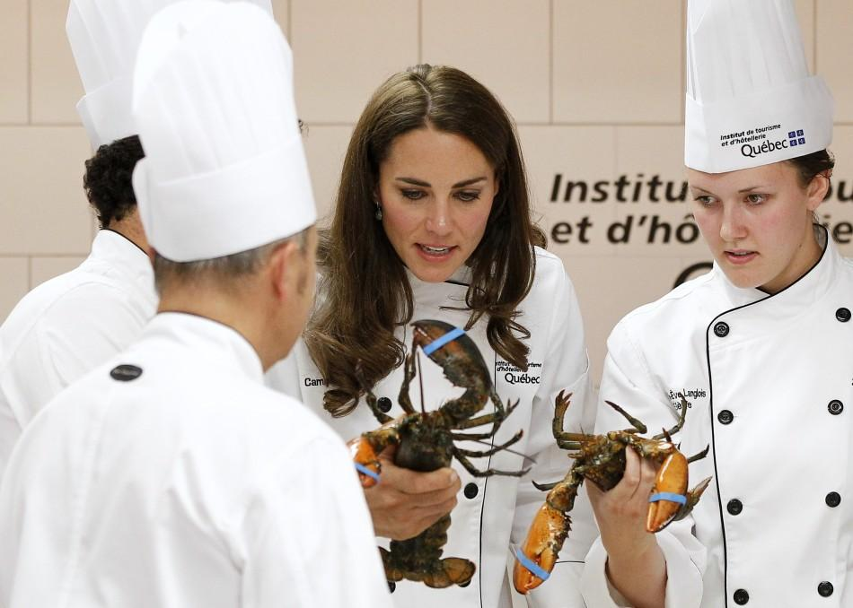 Catherine, Duchess of Cambridge, takes part in cooking workshop at the Institut de tourisme et d'hotellerie du Quebec in Montreal July 2, 2011.