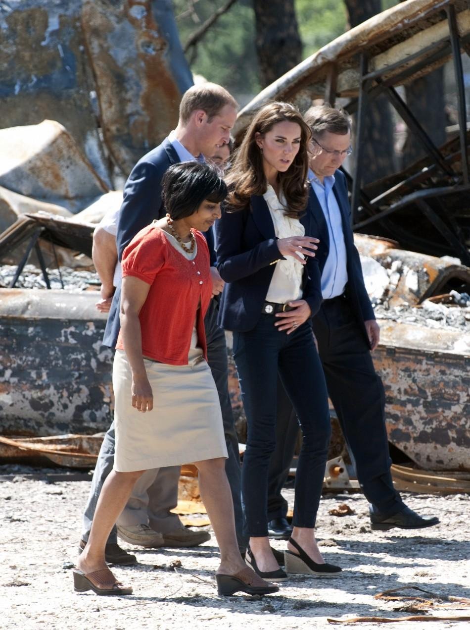 Britain's Prince William and his wife Catherine, Duchess of Cambridge, visit the fire-devastated town of Slave Lake