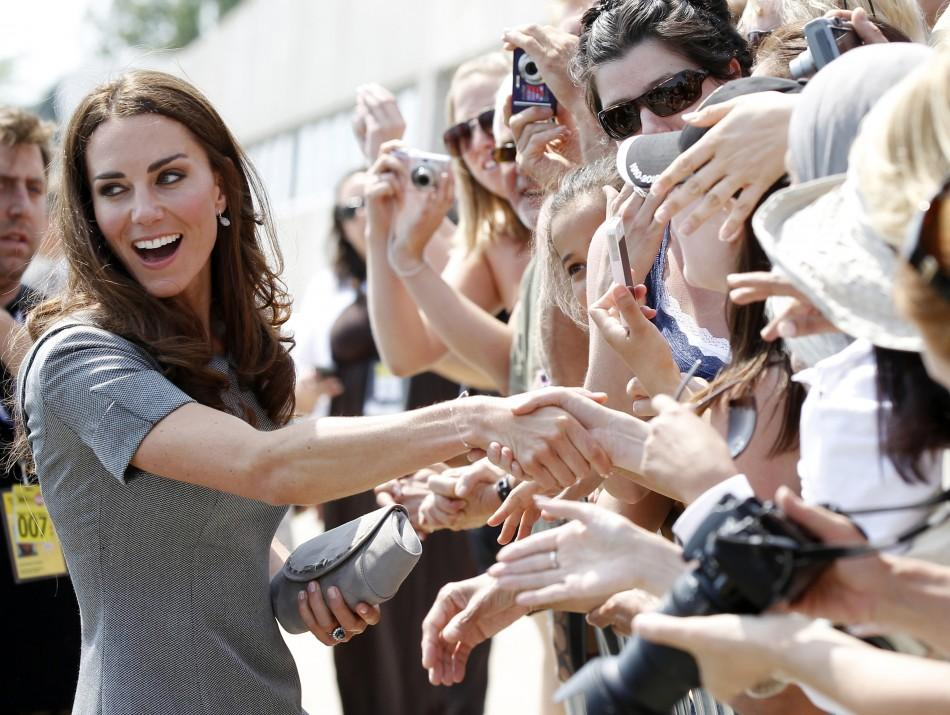Catherine, Duchess of Cambridge, greets admirers following a reception