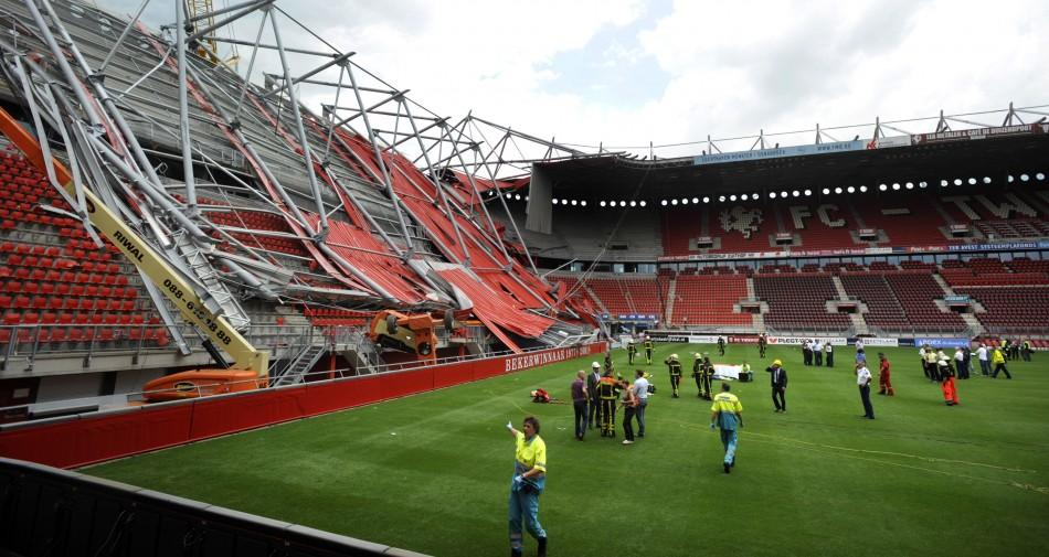 The soccer stadium of FC Twente Enschede is seen after a part of the newly constructed roof collapsed in Enschede.