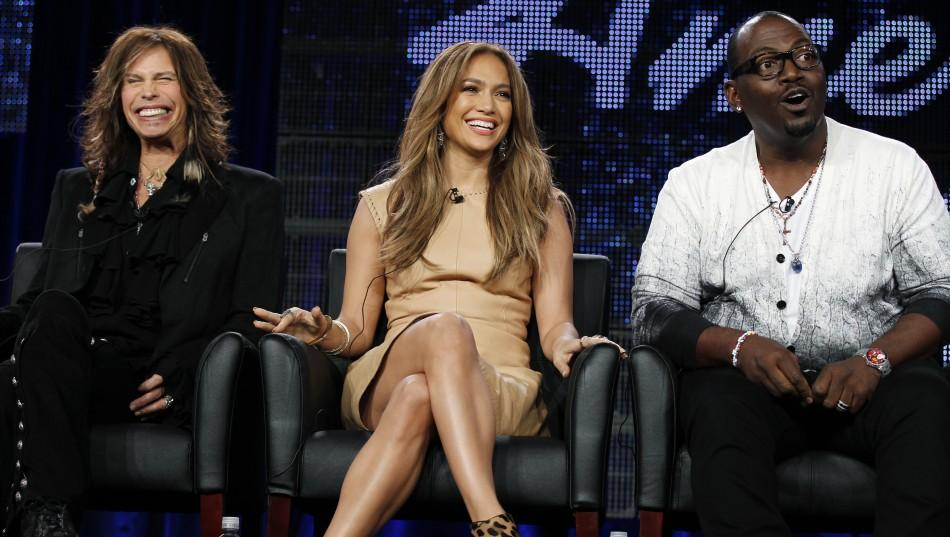 "Judges Steven Tyler (L), Jennifer Lopez (C) and Randy Jackson take part in a panel discussion for the show ""American Idol"""