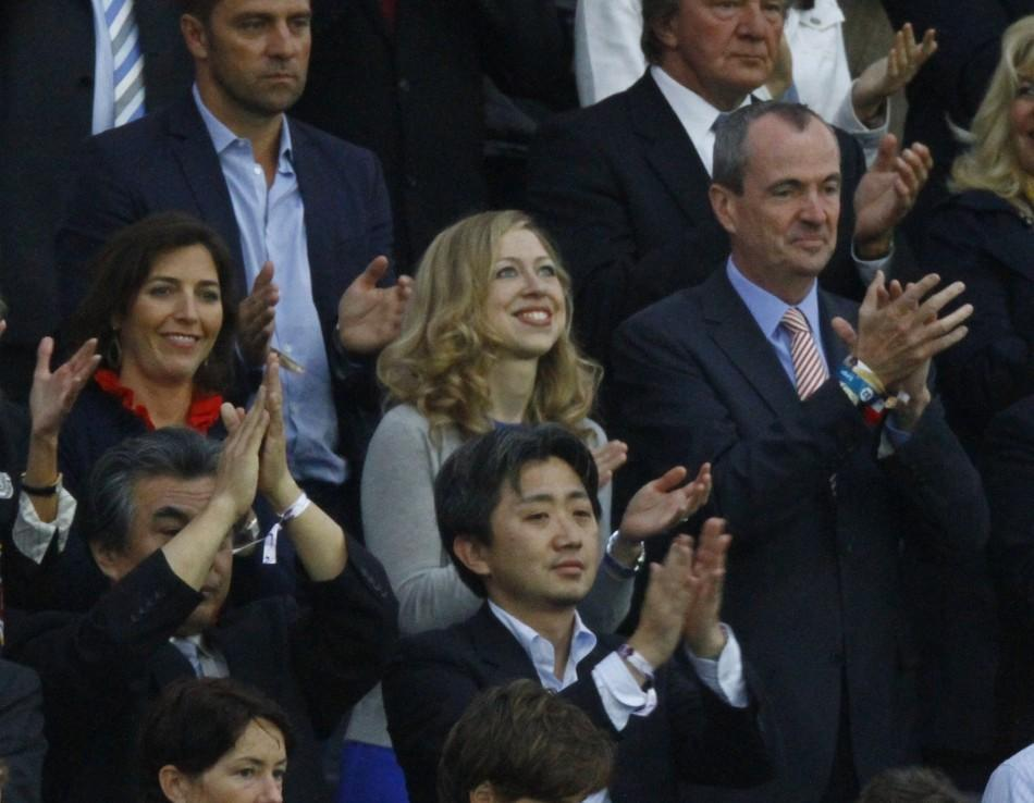 Chelsea Clinton (C) daughter of former U.S. President Bill Clinton and U.S. Secretary of State Hillary Rodham Clinton attends the Women's World Cup final soccer match Japan vs. U.S. in Frankfurt