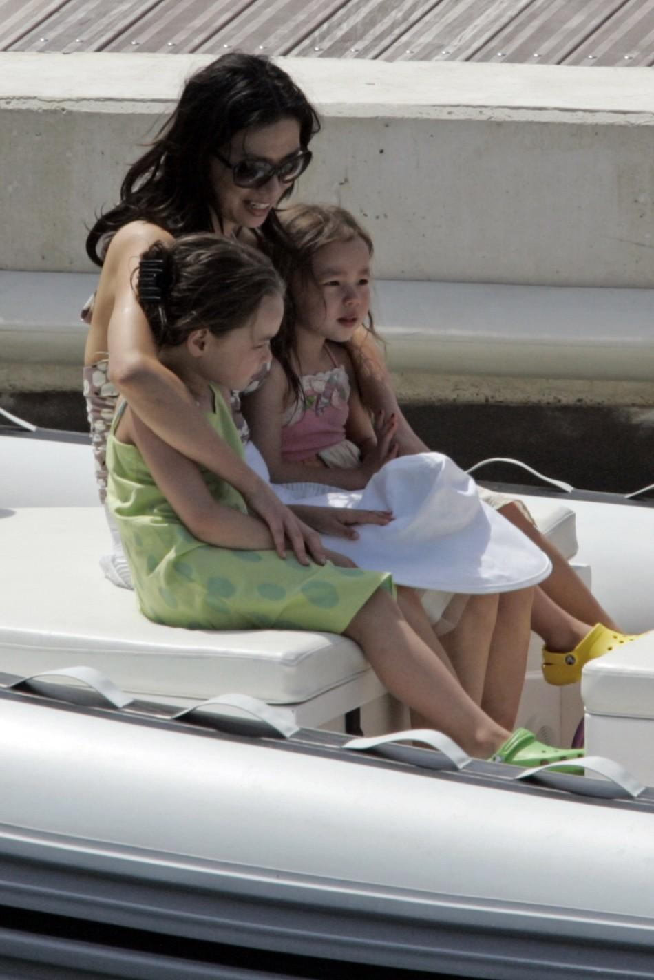 With kids in boat