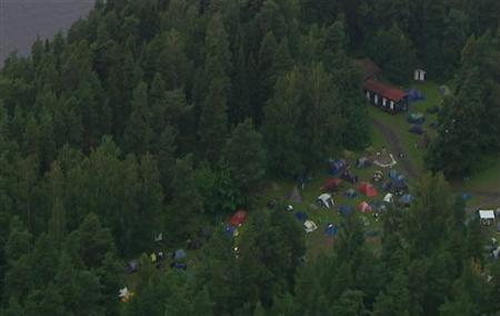 An aerial view of Utoeya island is seen in this still image taken from video footag