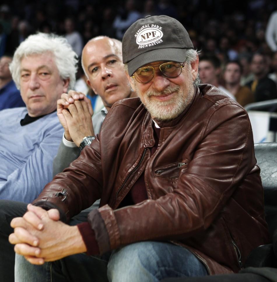 Director Spielberg watches Los Angeles Lakers play New Orleans Hornets during their NBA basketball game in Los Angeles