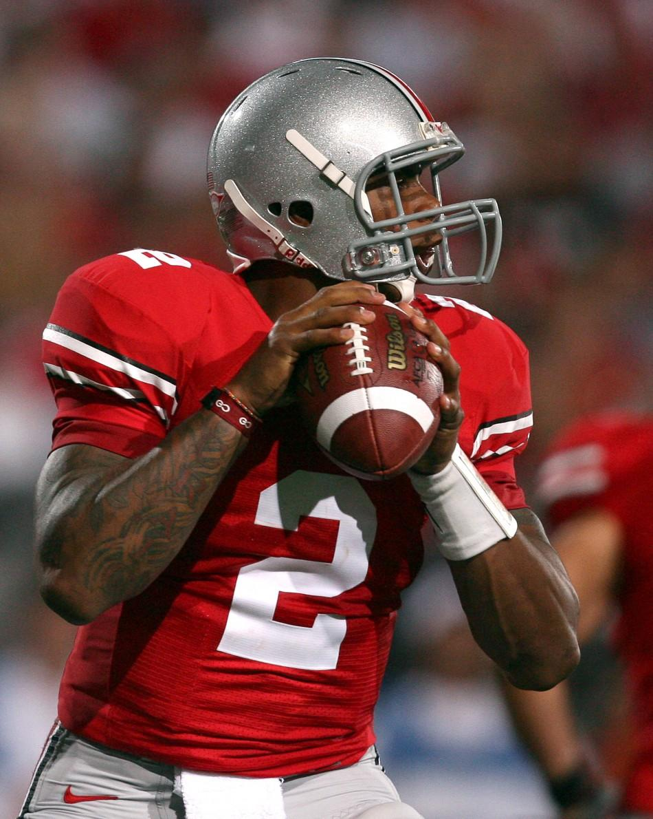 Ohio State University quarterback Terrelle Pryor (2) looks for a receiver against Marshall University during the second quarter of their NCAA football game in Columbus, Ohio, September 2, 2010.