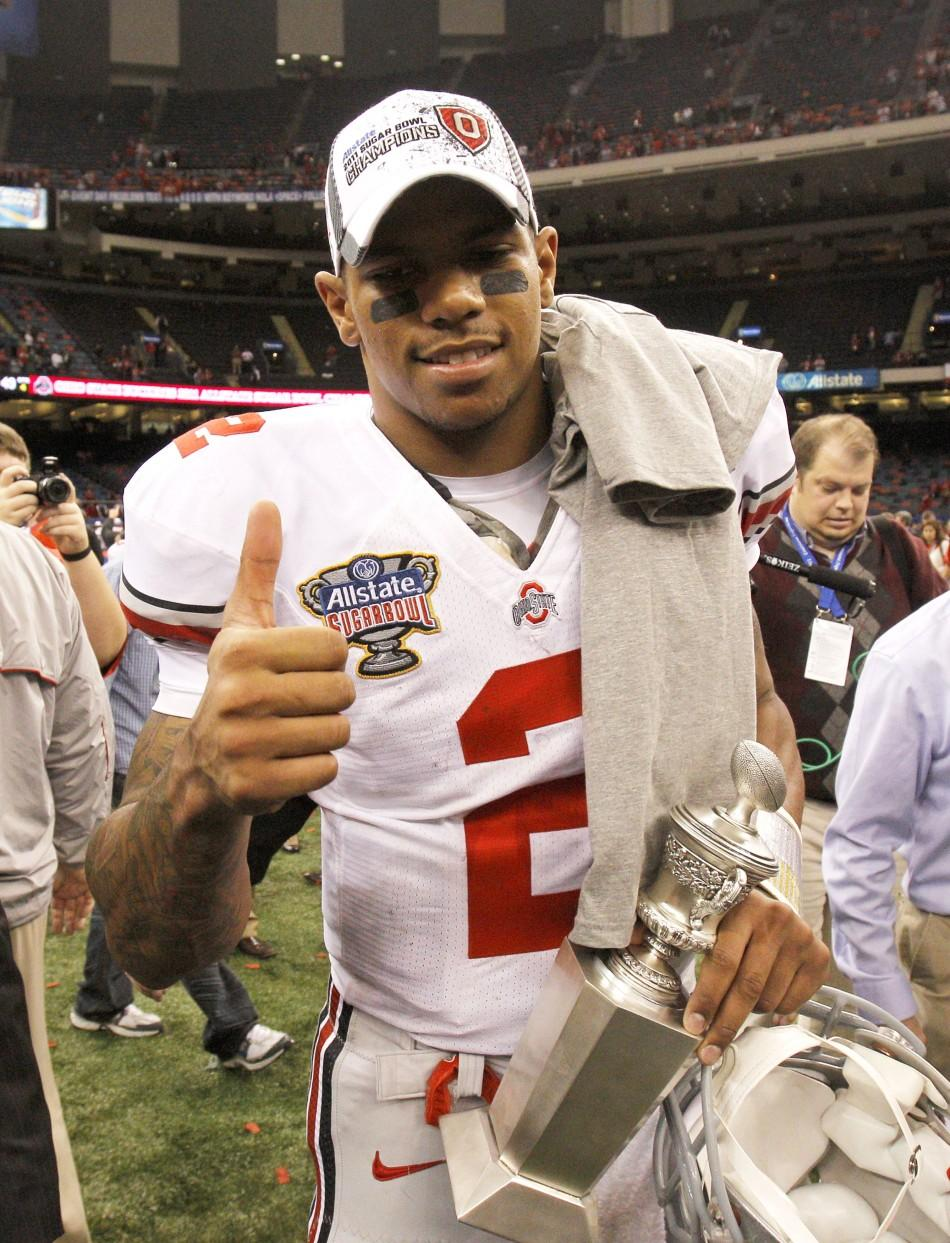 Ohio State University quarterback and MVP Terrelle Pryor (2) celebrates after his team defeated the University of Arkansas during the NCAA BCS Allstate Sugar Bowl football game in New Orleans, Louisiana January, 4, 2011.