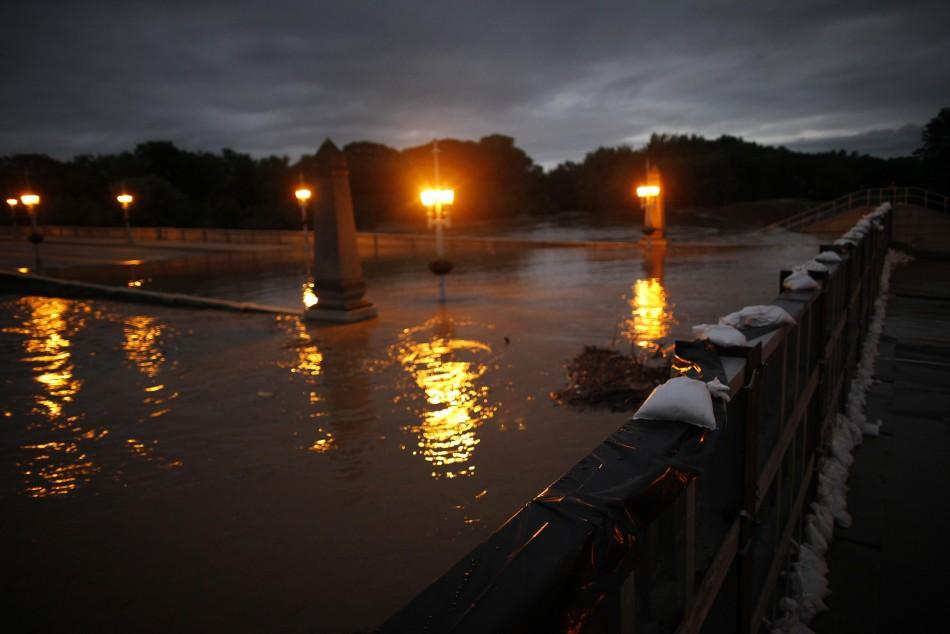 Sandbags are seen atop a flood wall on the Susquehanna River in Kingston