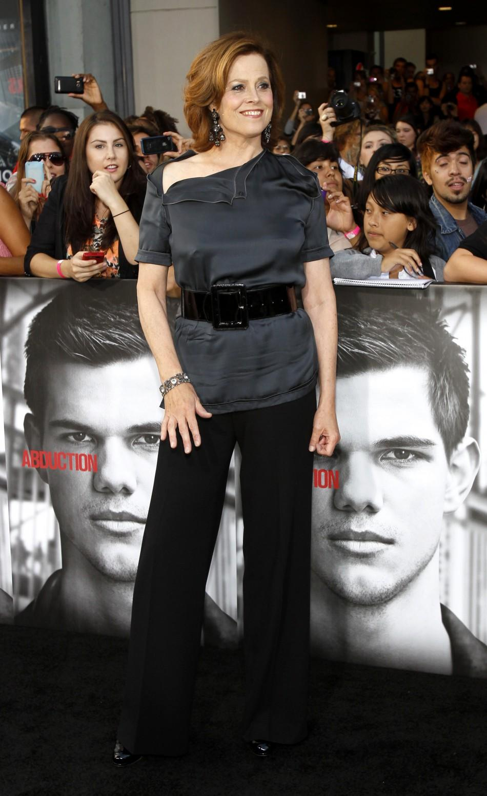 "Cast member Sigourney Weaver poses at the world premiere of ""Abduction"" at the Grauman's Chinese theatre in Hollywood, California"