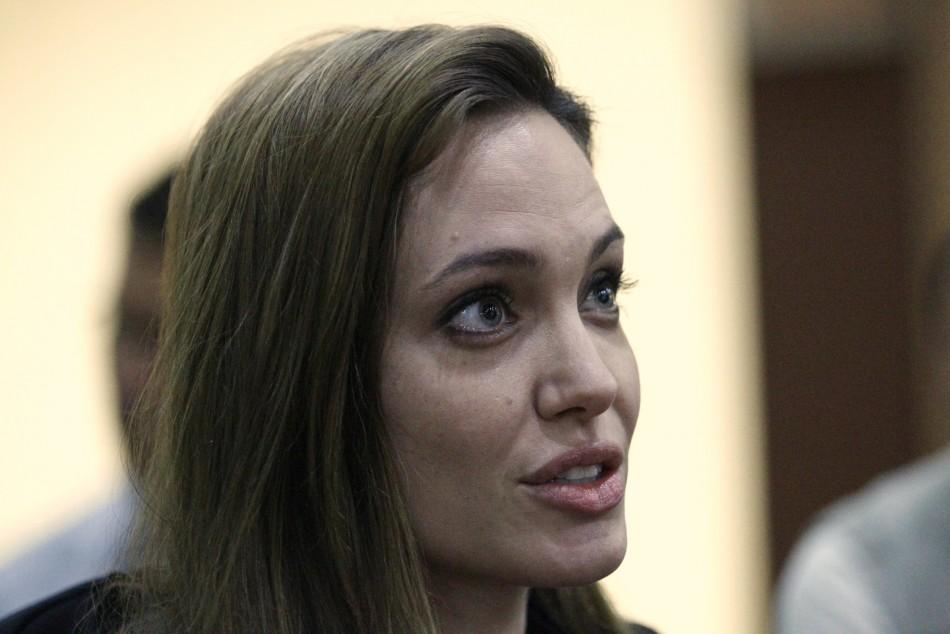 U.S. actress Angelina Jolie speaks during an interview with Reuters in Misrata