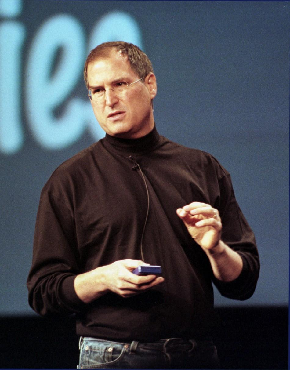 Apple CEO Steve Jobs gestures during his keynote address at Apple's Worldwide Developers Conference 2000, at the San Jose Convention Center May 15