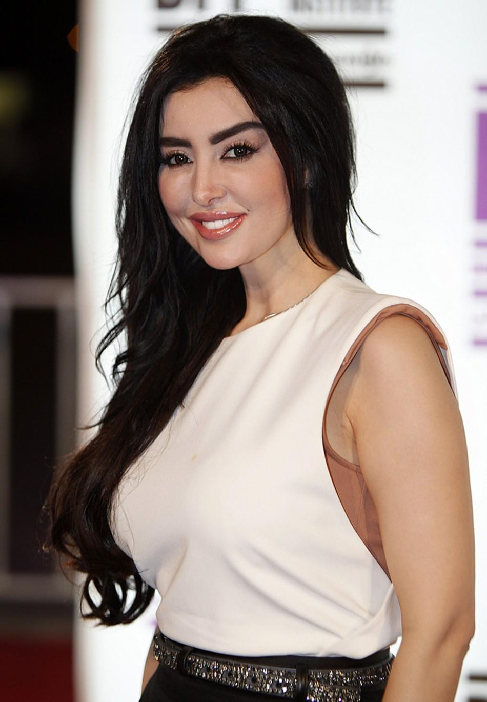 Actress Mayssa Maghraby arrives at the ''Where Do We Go Now?' premiere during Doha Tribeca Film Festival in Doha