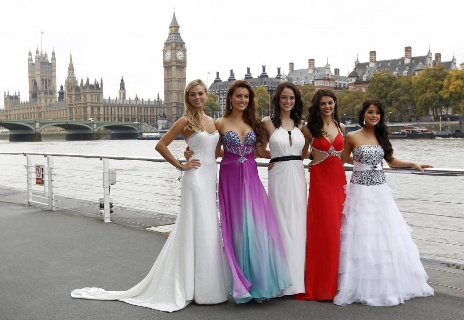 Miss World 2011 contestants (L-R) Miss England Alize Mounter, Miss Ireland Holly Carpenter, Miss Scotland Jennifer Reoch, Miss Northern Ireland Finola Guinnane and Miss Wales Sara Manchipp pose for photographers in front of the Houses of Parliament and th