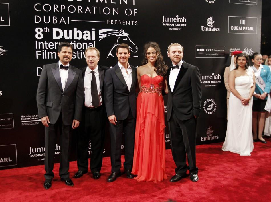(L - R)Bollywood actor Anil Kapoor poses with director Brad Bird, U.S. actor Tom Cruise and cast members Paula Patton and Simon Pegg as they arrive for the opening ceremony of the 8th Dubai International Film Festival for the premiere of the new movie &qu