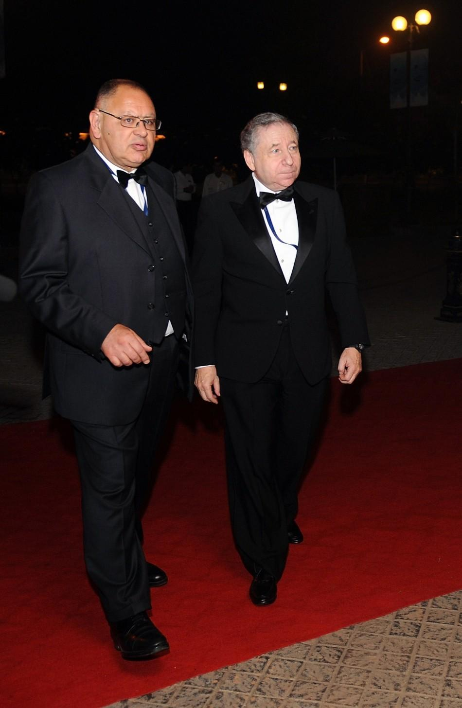 Head of the Federation Internationale de l'Automobile Jean Todt arrives for the 2011 FIA Gala night in Gurgaon