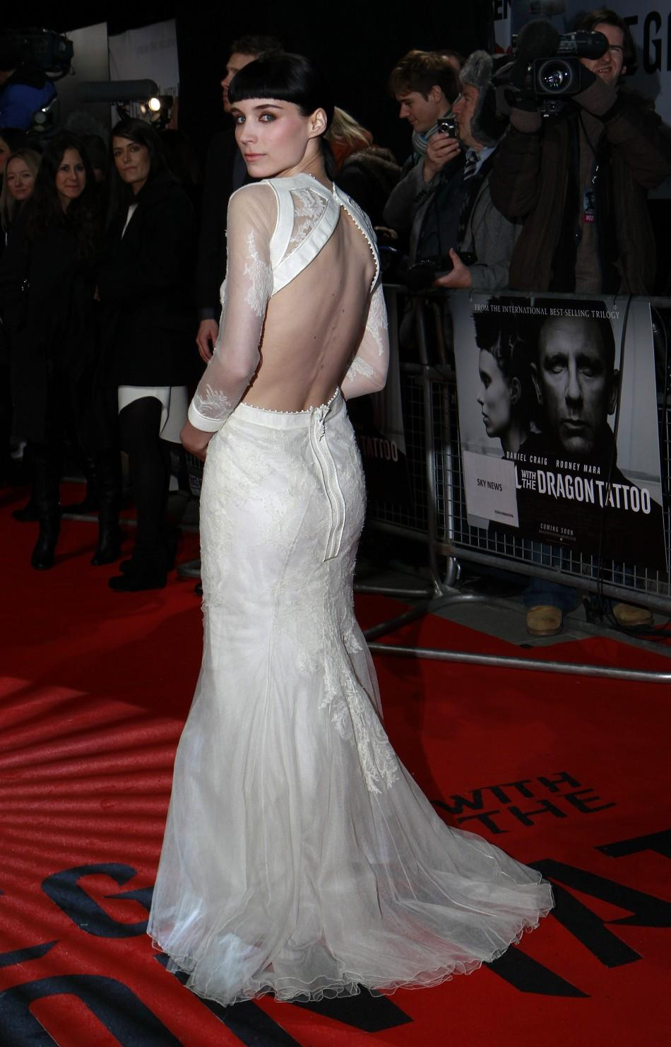 "U.S. actor Rooney Mara poses at the world premiere of ""The Girl with the Dragon Tattoo"" at the Odeon in London"
