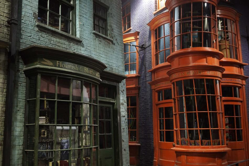 """Storefronts are seen in """"Diagon Alley"""" during a media viewing tour of the set of the Harry Potter films at the Warner Bros. Studio Tour in Leavesden"""