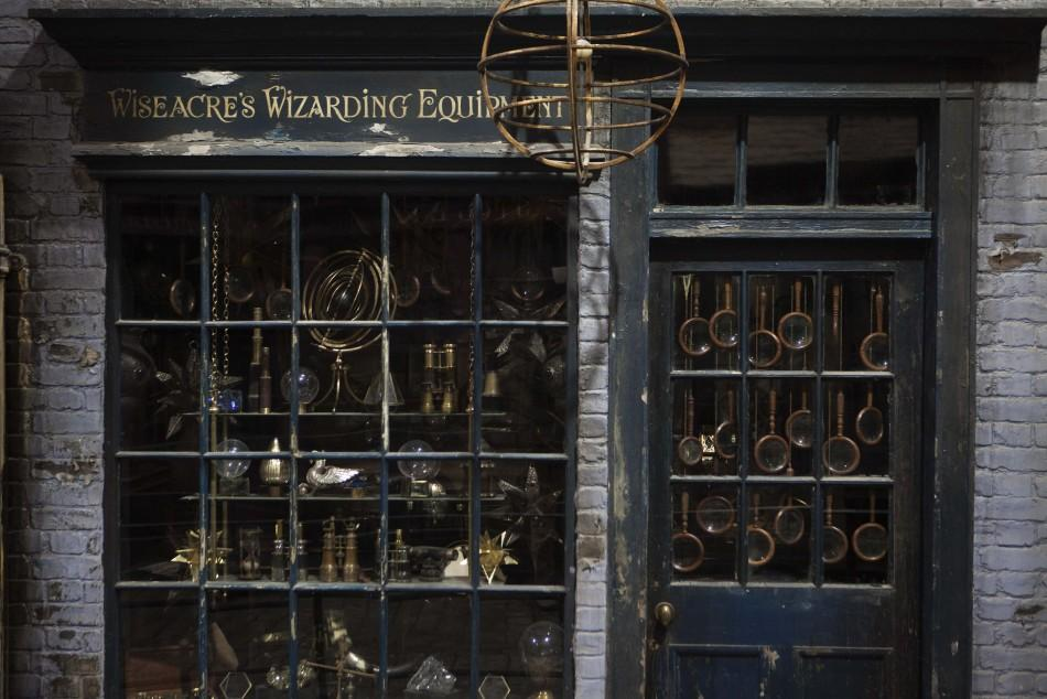 """A storefront is seen in """"Diagon Alley"""""""