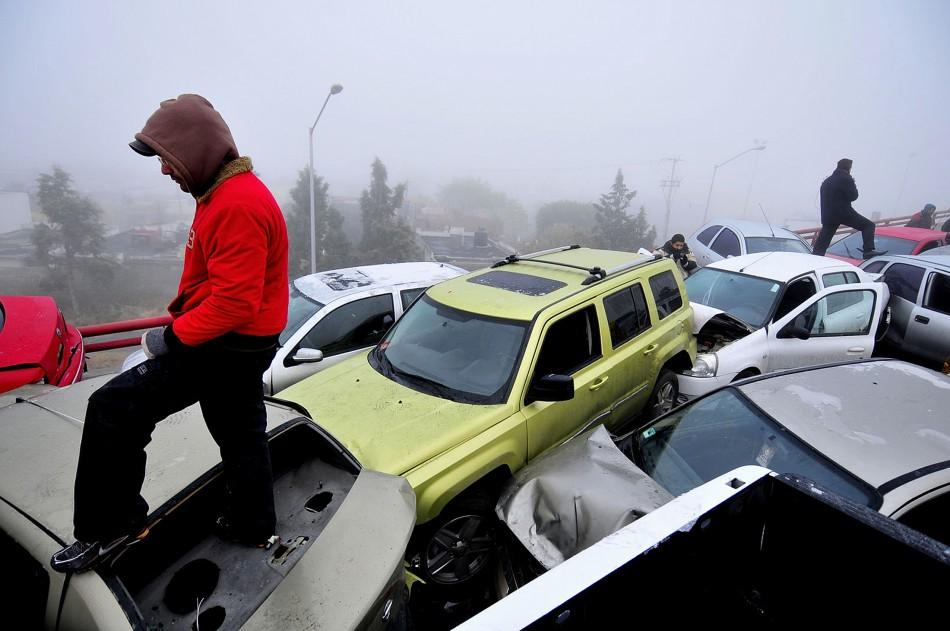 Car Pileup in Mexico