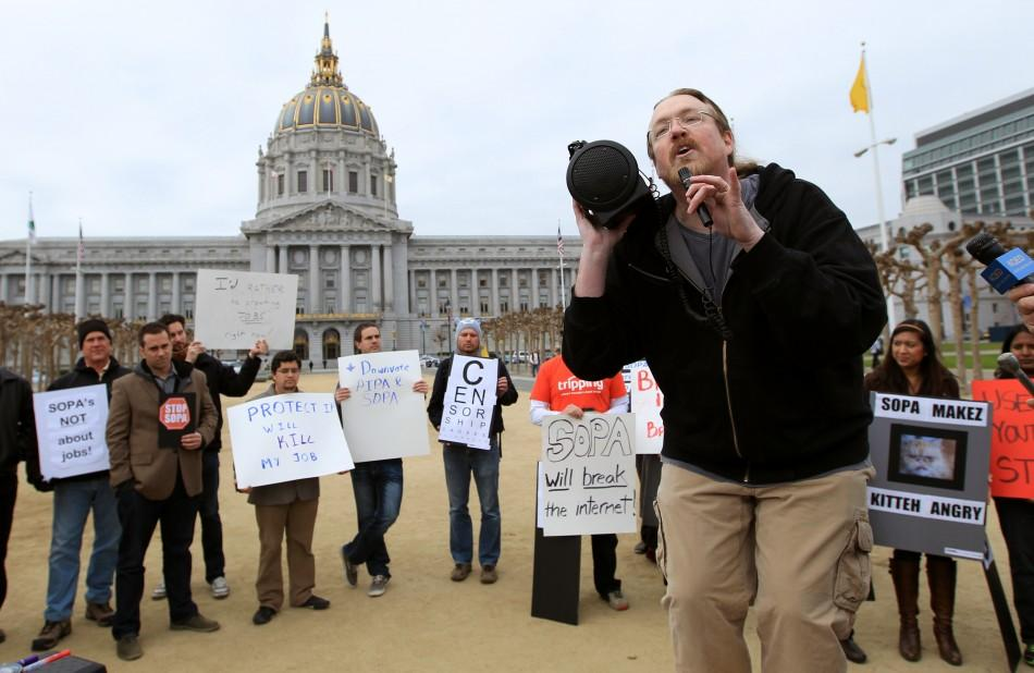 Internet activist Nelson speaks during a protest of the SOPA legislation being considered by Congress, at City Hall in San Francisco