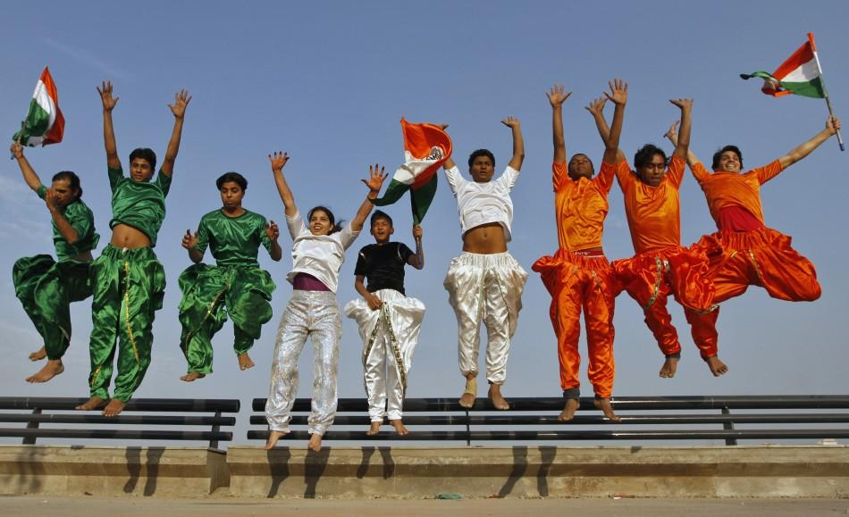 College students dressed in the colours of India's national flag.