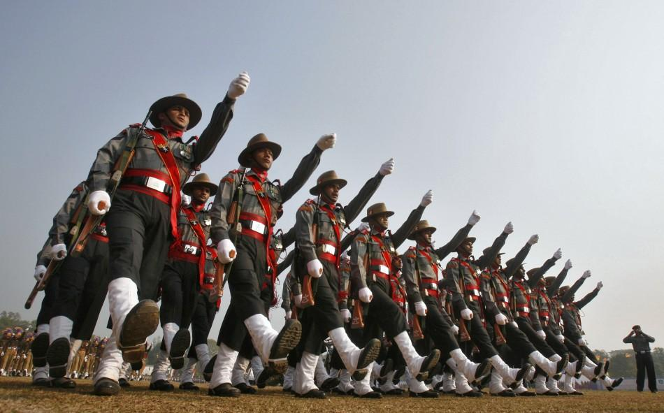 Indian soldiers march during the Republic Day celebrations in Agartala